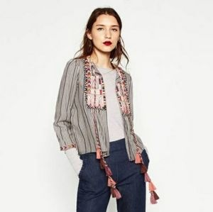 Zara Short Embroidered Jacket Sz. M Boho Festival